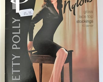 Vintage 1980s Pretty Polly Nylons. Champagne, size 2