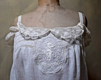 Embroidered Edwardian Trousseau Nightgown/Slip with Exquisite Fat Cupid in a Floral Wreath Medallion, Drawn Threadwork, Bridal, Large Size