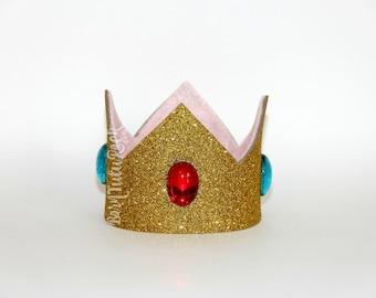 Princess Peach Crown // Gold Crown // Crown Headband // by Born TuTu Rock
