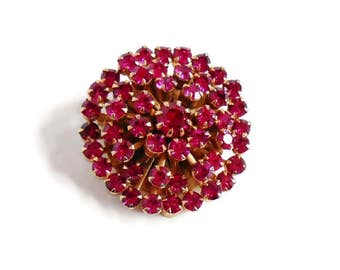 Pink Rhinestone Brooch WEISS Signed Round Gold Collectible Small Vintage Designer Pin, Jewelry Gift For Women