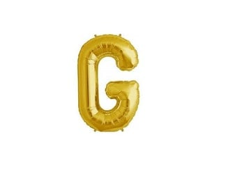"""Letter G - Gold 16"""" Mylar Letter Balloon, Wedding, Bridal Shower, 1st Birthday, Photo Prop, Name Banner, Baby Shower, Baby Name, Party"""