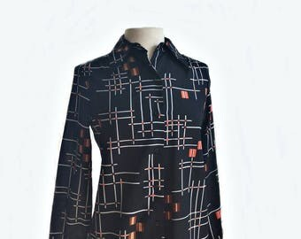 Vintage 70s Vera Neumann Shirt/ atomic black top/ abstract geometric lines/ midcentury modern print/ designer office shirt