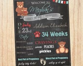 Teddy Bear Baby Shower Welcome Sign Chalkboard. Teddy Bear baby shower decoration game. chalk board digital customizable. PRINTABLE poster.