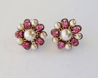 Rose Pink Rhinestone Stud Earrings. Rhinestone Jewelry of Pearls & Crystals. Colorful Rhinestone Studs. Gifts for Spring Summer Pink Jewelry