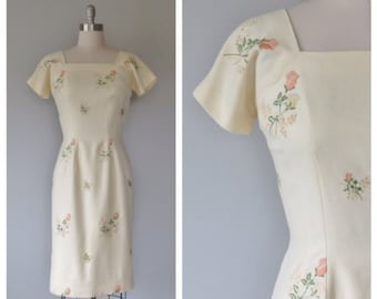 50s rose print dress / 50s wool dress / vintage embroidered dress / 1950s floral dress / wool wiggle dress / 50s wiggle dress