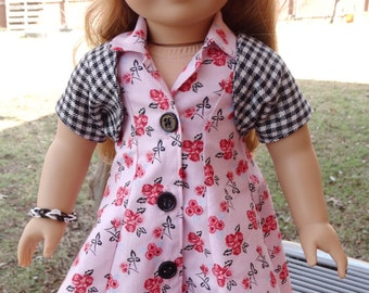 "18"" Doll Clothes 1950's Style Pink Floral Dress Fits American Girl Maryellen, Melody"