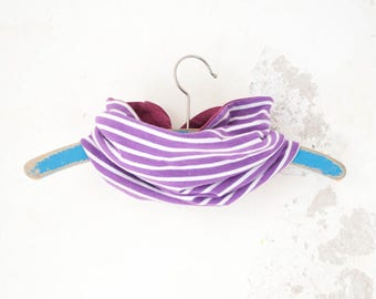 Infinity scarf girl, circle scarf organic, jersey scarf girl, loop scarf toddler girl, jersey scarf baby, purple striped scarf