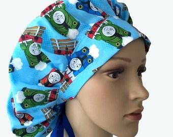 Bouffant Surgical Scrub Hat -  Thomas the train Bouffant Scrub Hat - Ponytail Scrub hat - Custom Scrub Hat - Personalized Scrub hat