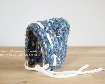 Newborn Baby Boy Bonnet Hat. Newborn Baby Photo Prop. Crochet Blue Pixie Hat. Newborn Photography prop. UK Seller