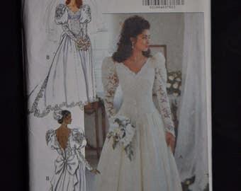 1980's Elegant Bridal Gown - Sizes 8/10/12 - UNCUT - Butterick 4501