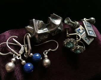 Sterling Earring Lot Vintage Earrings 925 Jewelry Dangling Lapis Abalone Wear Craft Destash Resell Repurpose