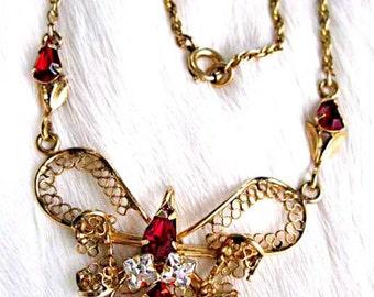 Red Glass Gold Lace Necklace, Trefoil Design Ornate Centerpiece Vintage 12k Goldfill, Red Square Rhinestones Choker, VanDell