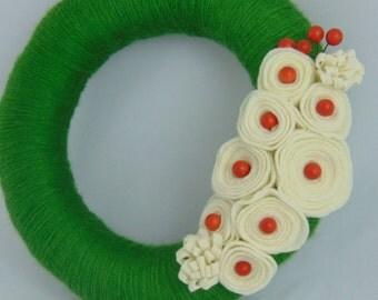 Green Yarn Wreath With Cream Felt Flowers and Red Embellishments - Wall Decor