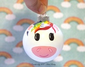 Unicorn Christmas Ornament Mythical Creature Magical Glass Bauble Hand Painted Little Girl Gift MADE TO ORDER