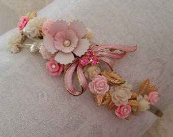 VINTAGE FLORAL Bridal Headband Assemblage Wreath Tiara Bride Bridesmaids Hair Accessories Gold Pink Blush White Ivory Bow OOAK Wedding