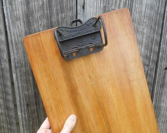 """Antique Wooden Clipboard """"Yawman and Erbe"""" Receipt File Invoice Holder General Store Y and E Rochester, NY"""