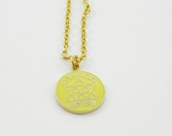 Canada Centennial Charm Necklace - Canada 150 Necklace in Yellow