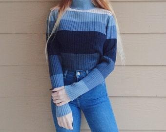 Pendleton Colorblock Striped Mock Neck Sweater Top // Women's Small S Medium M