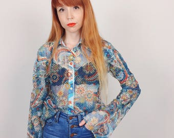 Retro Mesh Floral Print Flower Power Hippie Trippy Sheer Button Up Shirt // Women's size Medium M