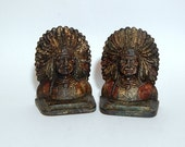 Antique Indian Chief Bookends Native American Cast Iron Figural Bust.