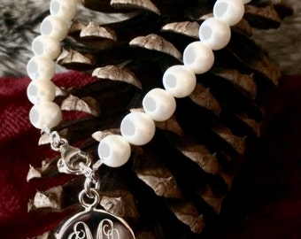 Monogrammed Pearl Freshwater Bracelet with Sterling Silver Charm