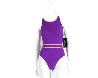 NOS Anne Klein Swimsuit High Neck Racer Back Purple w/Metallic Gold Trim 1 pc Bathing Suit Vintage Swimwear Old Store Dead Stock sz 12 #164