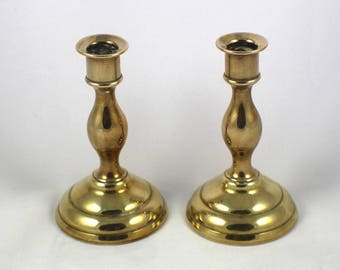 Pair of Small Brass Candle Sticks Plain Ring Design Round Base Metal Mini Candlesticks