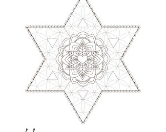 Star Of David Flower Life Passover Coloring Page 1 Printable Design