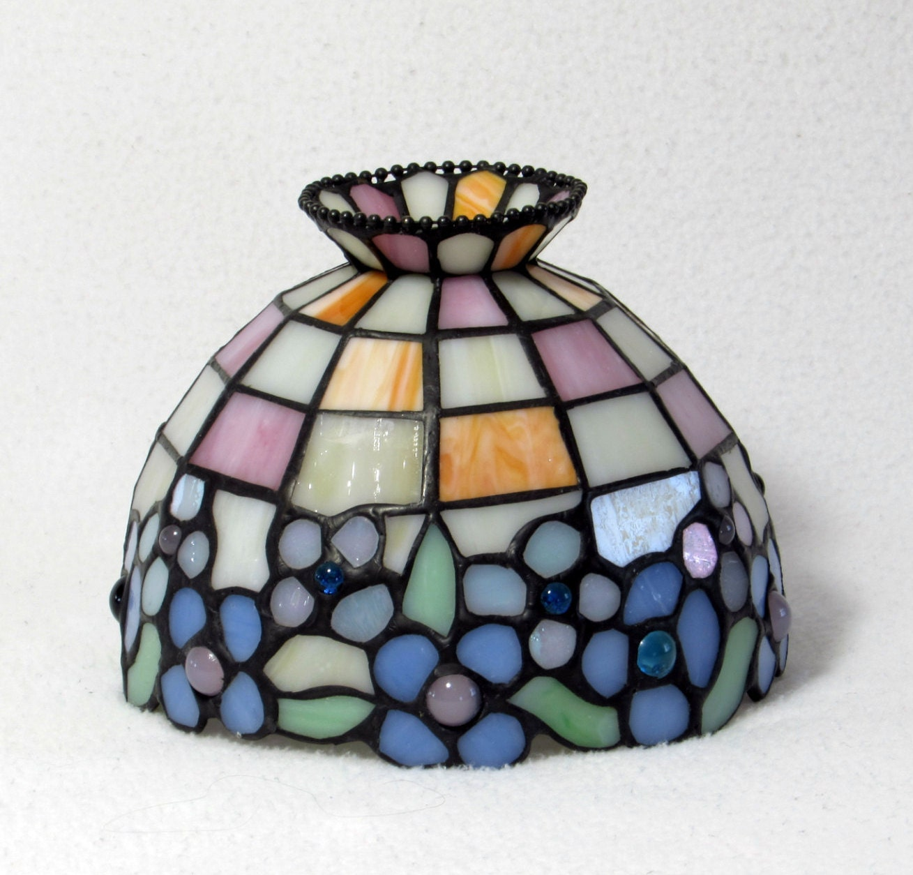 pretty pastels stained glass lamp shade. Black Bedroom Furniture Sets. Home Design Ideas