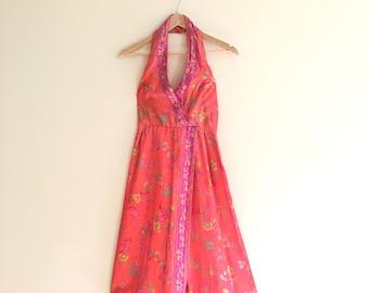 Vintage Coral Floral Halter Dress // Sun Dress   - 1970s