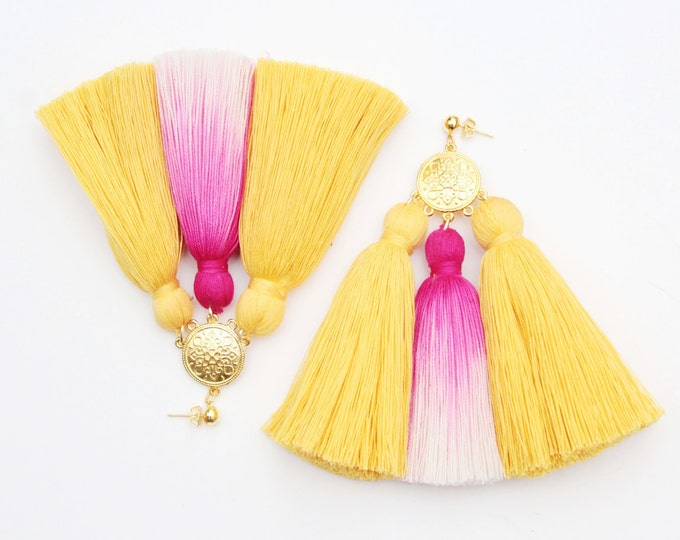 MAGIC 50 / Oversized earrings-large statement jewelry-tie dyed-hand colored bohemian earrings-fringe jewelry-pink yellow white-Ready to Ship