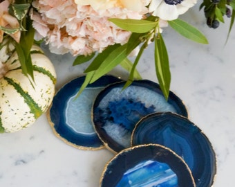 BLUE agate coasters. GOLD rim. geode coasters. gem coasters. 4 coaster set. home decor. drinking coasters. housewarming gift.  table decor