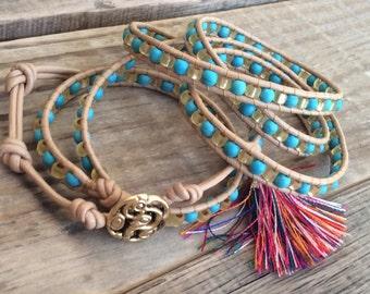 Turquoise Beaded Leather Wrap Bracelet - Turquoise magnesite Beads, Gold Miyuki beads, Tan Leather - Western Bohemian