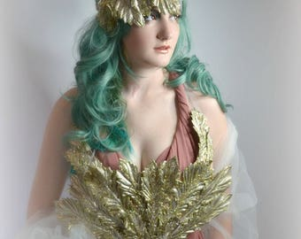 Gold art nouveau Greek Goddess inspired corset headpiece tiara fascinator Costume set