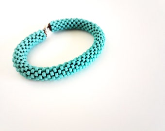 Turquoise Bracelet // Christmas Gift // Silver Cuff Bracelet // Crochet Rope Bracelet // Beaded Rope bracelet // Gift fo her //