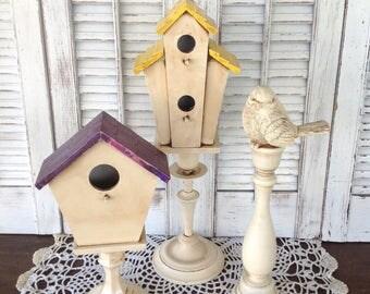 Pedestal Birdhouses w/Bird - 3 Pc Set - Antique White Cottage Chic Table Top Bird Decor