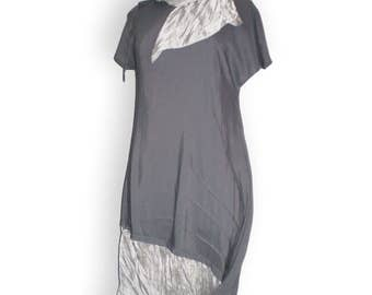 Gray dress tunic asymmetric lagenlook style short sleeves summer dress