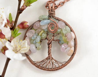 Morganite Tree-of-Life Necklace Family Tree Copper Wire Wrapped Pendant  Mothers day gift  Rustic Wedding Necklace Boho Jewelry Gift For mom