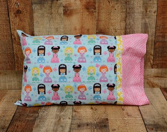 Girls Toddler Pillowcase - Girls Travel Pillowcase - Diversity Pillowcase - Girl's Bedroom Decor - Girl's Bedding - Princess Pillow Cover