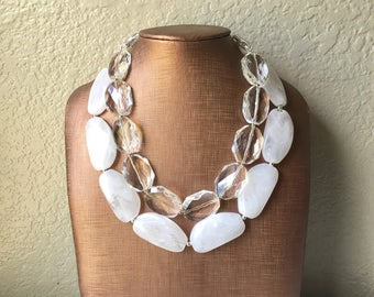 Clear & White Necklace, multi strand jewelry, big beaded chunky statement necklace, clear necklace, bridesmaid necklace, bib necklace