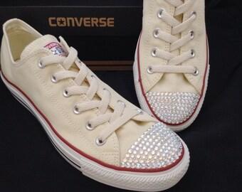 Wedding Converse Canvas Ivory Taupe Beige Cream Unbleach Low Top Bridal w/ Swarovski Crystal Rhinestone Chuck Taylor All Star Sneakers Shoes