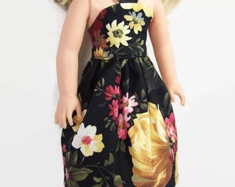 Black Floral Tea Length Sundress - Made to Fit 14.5 Inch Dolls Like Wellie Wisher Doll Clothes