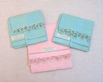 Vintage Irish Linen Fingertip Towels with fancy Tatted Borders, Finger Towels, Made in Ireland