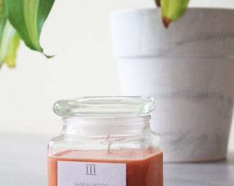 SALE | Sandalwood soy candle | clear square jar | Three Silent Trees