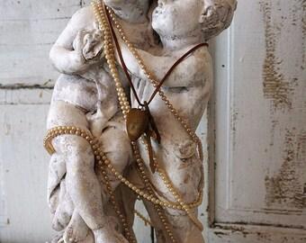 French statue boy girl shabby cottage chic plaster prince princess chalkware figures handmade crowns embellished decor anita spero design