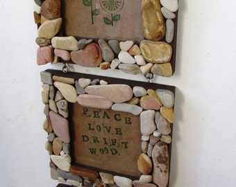 Three Tiered Rock 3x3 Frames, Rustic Home Decor, Beach Home Decor (Made to Order)