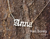 Personalized Name Necklace in Old English Font - Sterling Silver, Yellow Gold, Rose Gold, White Gold, 14K Gold Filled - Nameplate Necklace