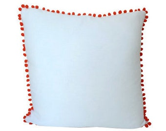 Decorative Ivory Linen Pillow Cover with Hot Pink Pom Poms