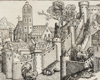 1493 Ancient INCUNABLE PRINT. Nuremberg Chronicle, first edition. Incunabula. Gothic print. Middle ages print. 524 years old engraving