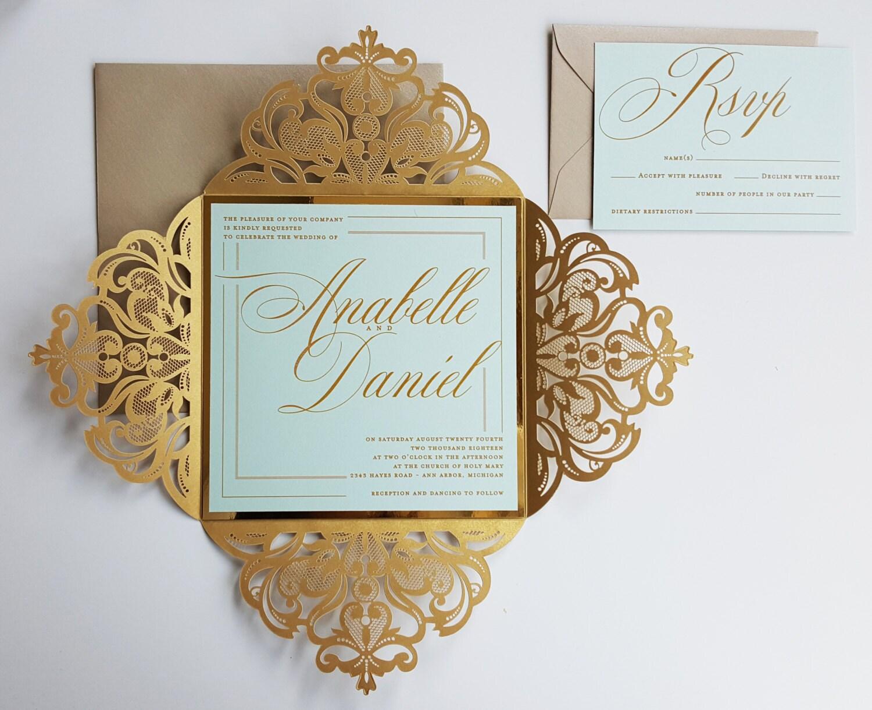 Gold custom laser cut wedding invitation sample elegant mint for Laser cut wedding invitations minted